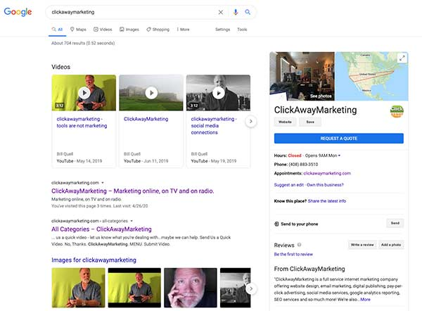 ClickAwayMarketing.com Google SERP capture