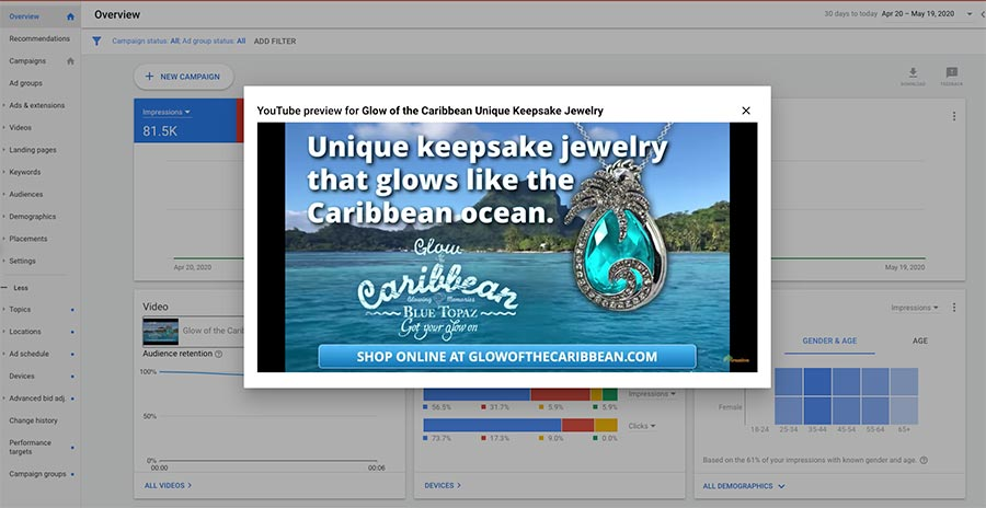 Glow of the Caribbean YouTube Video Advertising